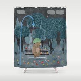 feeding the birds Shower Curtain