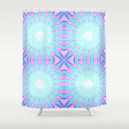 Pink & Blue Starlight Explosion Pastel Pattern Shower Curtain