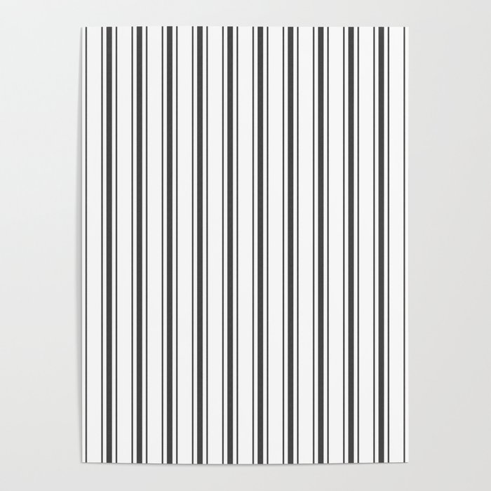 Mattress Ticking Wide Striped Pattern in Dark Black and White Poster