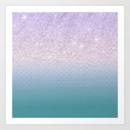 Modern faux lilac glitter teal purple ombre polka dots Art Print