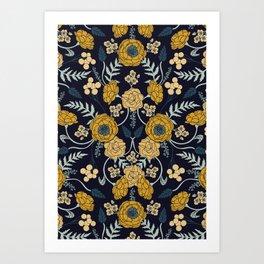 Navy Blue, Turquoise, Cream & Mustard Yellow Dark Floral Pattern Art Print