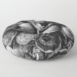 Coconut Shell Black and White Floor Pillow