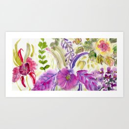 Chinese Brush Floral with Orchid Art Print