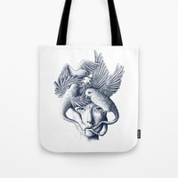 breathe Tote Bags featuring Breathe by Norman Duenas
