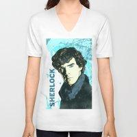 sherlock holmes V-neck T-shirts featuring Sherlock Holmes by illustratemyphoto