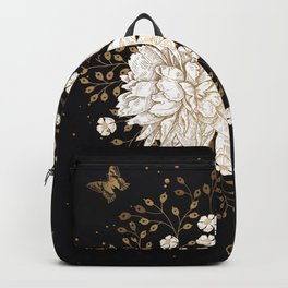 Hand drawn vintage bouquet flower on dark background illustration Backpack
