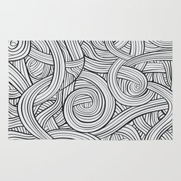Lines - Black and White Rug