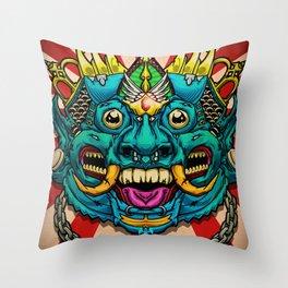 Justice Barong Mask Throw Pillow