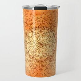 Watercolor Mandala Pattern Orange Travel Mug