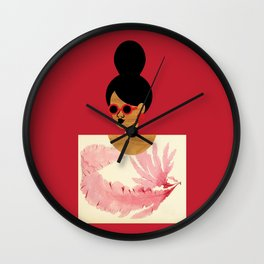 High Bun Postcard Girl Wall Clock
