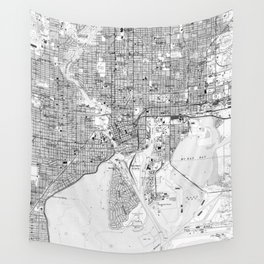 Vintage Map of Tampa Florida (1944) BW Wall Tapestry