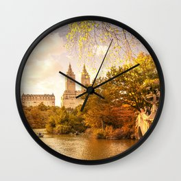 New York City Autumn Landscape Wall Clock