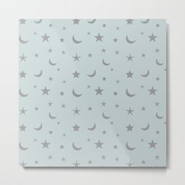 Grey moon and star pattern on baby blue background Metal Print
