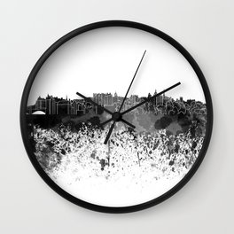 Edinburgh skyline in black watercolor Wall Clock