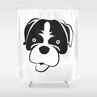 boxer Shower Curtains featuring Boxer by anabelledubois