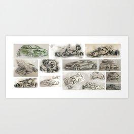 car design sketches Art Print