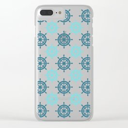 Nautical Seafarer Wheel Retro Seamless Pattern Clear iPhone Case