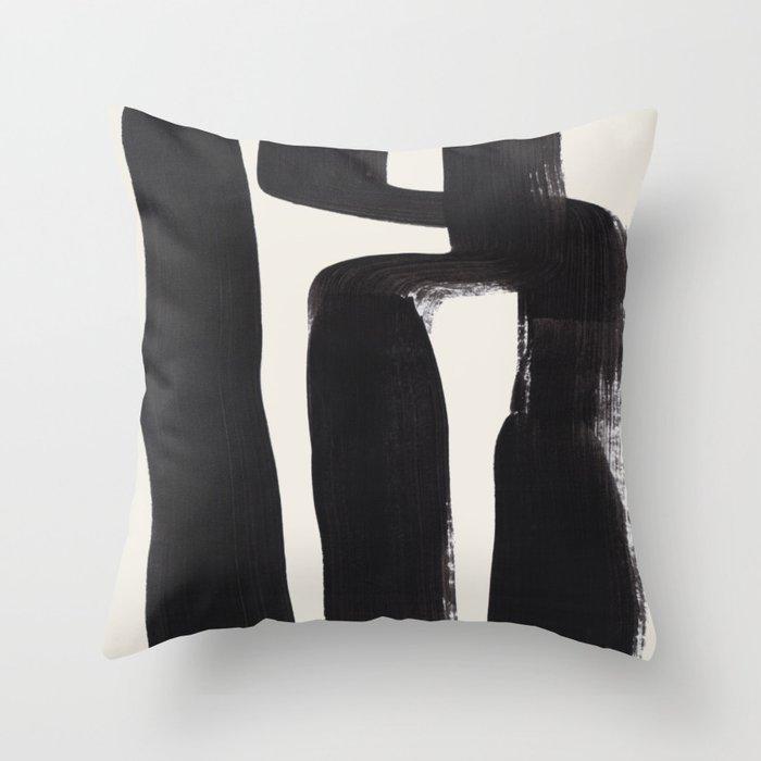 Mid Century Modern Minimalist Abstract Art Brush Strokes Black & White Ink Art Ancient Stripes Throw Pillow