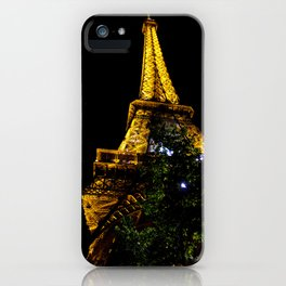 Eiffel Tower lit up at night, Paris iPhone Case