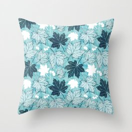 Autumn leaves in shades of blue Throw Pillow
