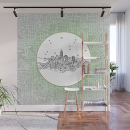 Indianapolis, Indiana City Skyline Illustration Drawing Wall Mural