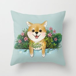 Shiba Inu summer Throw Pillow