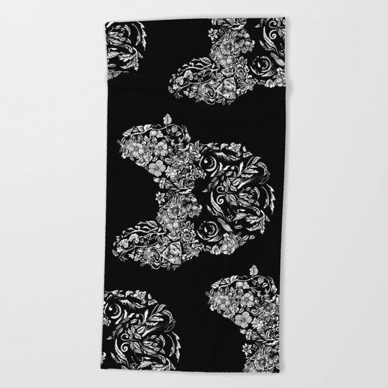 Botanical frenchie Beach Towel