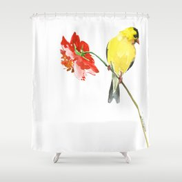 American Goldfinch and Red Flower, Minimalist Yellow Red Floral art Shower Curtain