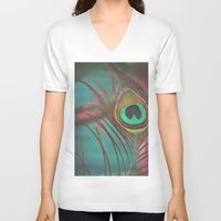 peacock feather V-neck T-shirts featuring Peacock Feather by Laura Mazurek