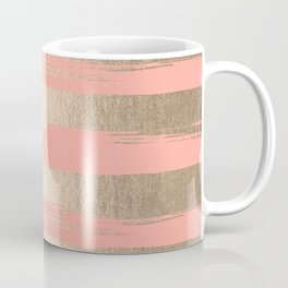 Painted Stripes Tahitian Gold on Coral Pink Coffee Mug
