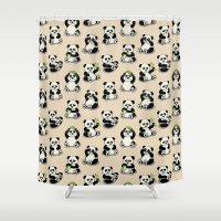 pandas Shower Curtains featuring Pandas by Olya Yang