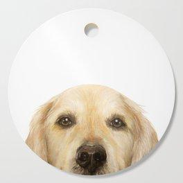 Golden retriever Dog illustration original painting print Cutting Board