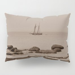 Tall ship out past the point sepia finish Pillow Sham