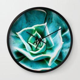 Sea Foam Green and Blue Jeweled Succulent Wall Clock
