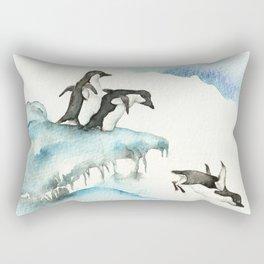 Jumping Penguins - Watercolor Rectangular Pillow