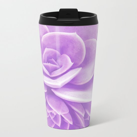 Purple Succulent Reflection Metal Travel Mug