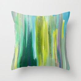 Green Waterfall Throw Pillow