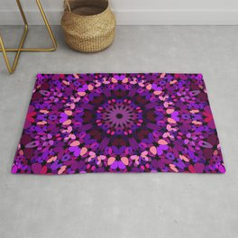 Purple Petal Garden Mandala Rug