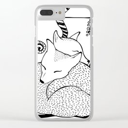 Hugging foxes Clear iPhone Case