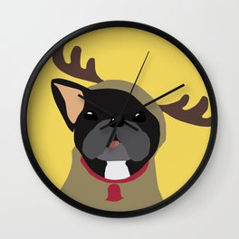 Black Frenchie in Reindeer Costume  Wall Clock