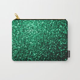 Beautiful Emerald Green glitter sparkles Carry-All Pouch