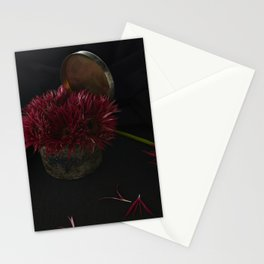 Deep Red Florals Stationery Cards