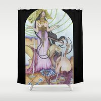 "mucha Shower Curtains featuring ""Restored"" Mucha Illustration by Katie Haire"