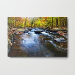 Fall Scenic of a Rocky River, New Jersey Metal Print