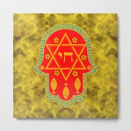 Hamsa for blessings, protection and strength - gold and red watercolor Metal Print