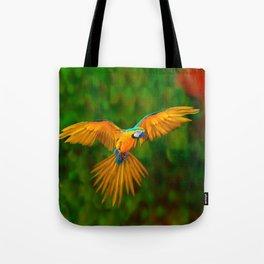 Flying Golden Blue Macaw Parrot Green  Art Tote Bag
