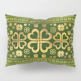 Shamrock Four-leaf Clover Green Wood and Gold Pillow Sham