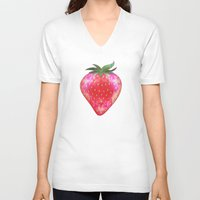 strawberry V-neck T-shirts featuring Strawberry by Ornaart