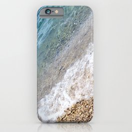Diagonal Waves Rolling Pebbles on the Seacoast iPhone Case