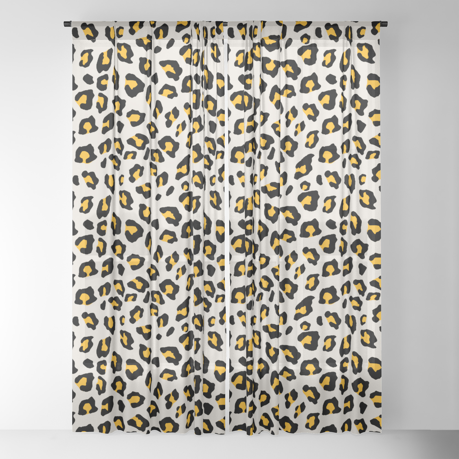 Leopard Print Mustard Yellow Sheer Curtain By Silverpegasus